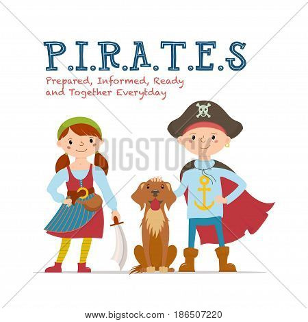 Meaning of Pirate word lettering, poster design with boy and girl dressed as pirates, cartoon vector illustration isolated on white background. Pirates abbreviation lettering poster with kids and dog