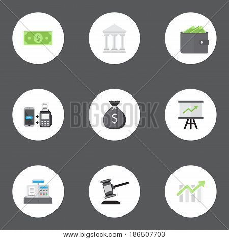 Flat Till, Money, Bar Diagram And Other Vector Elements. Set Of Banking Flat Symbols Also Includes Verdict, Till, Chart Objects.