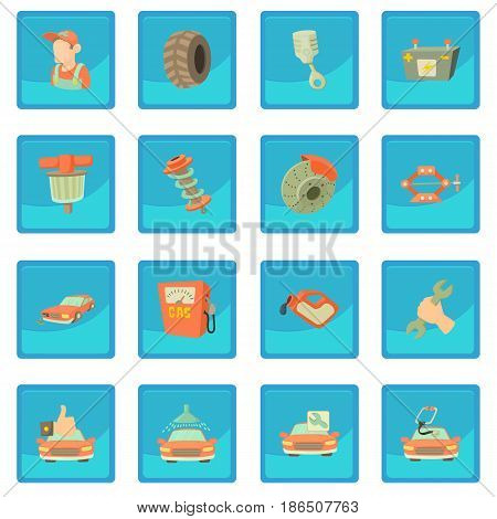 Car repair items set. Cartoon illustration of 16 car repair items vector icon blue app for any design vector illustration