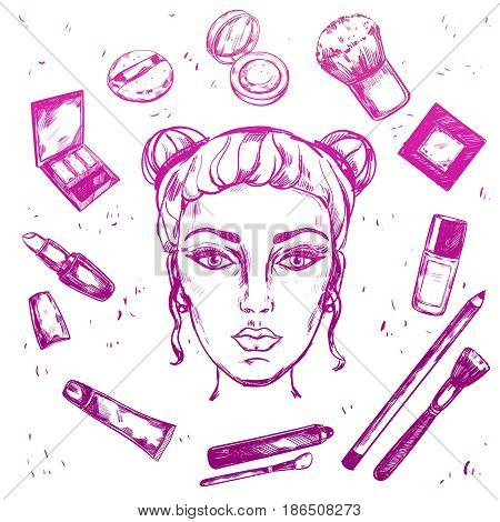 Purple gradient hand drawn make up composition with beauty icon set on cosmetic and make up themes vector illustration