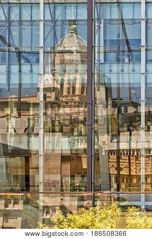 Melbourne AUSTRALIA - February 2015: Reflection of The Royal Exhibition Building is a World Heritage Site-listed building in Melbourne Australia completed in 1880