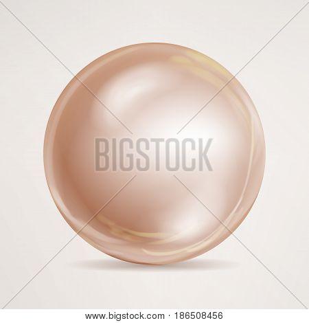 Realistic Pearls Isolated Vector. Sphere Shiny Sea Peach Cream Pearl