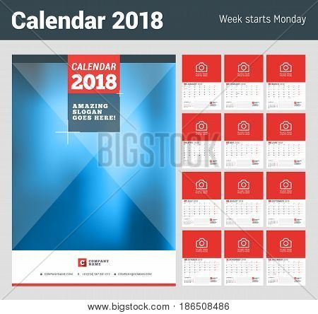 Wall Calendar Planner For 2018 Year. Set Of 12 Months. Vector Print Template With Place For Photo. W