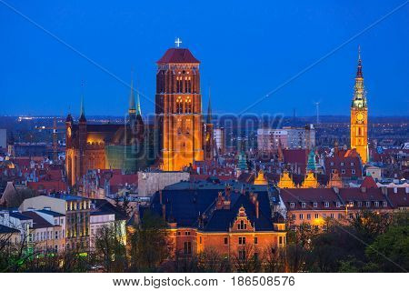 Architecture of Gdansk city centre at night, Poland