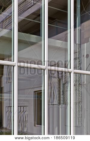 BERLIN GERMANY - July 2015: Reflection of The Unité d'habitation is a modernist residential housing design principle developed by Le Corbusier with the collaboration of painter-architect Nadir Afonso