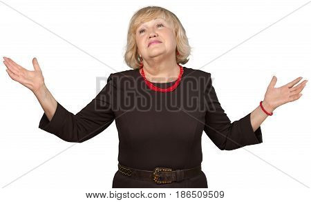Bored Old Woman Shrugging with Arms Open - Isolated