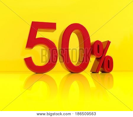3d render: Red 50% Sale Banner or Poster Discount Template, Retail Image, Yellow Background