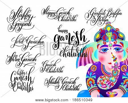 set of black and white isolated handwritten lettering inscriptions to indian celebration festival ganesh chaturthi with ganesha coloring drawing, calligraphy vector illustration collection