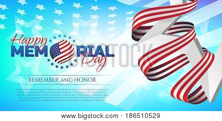 Happy Memorial Day Greeting Card With National Flag Colors Ribbon And White Star On Colorful Backgro