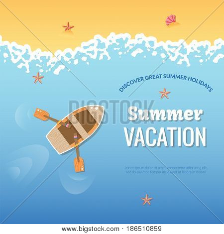 Summer vacation illustration poster. Colorful sea vacation concept. Vector flat design for flyers, banners, brochure, poster or web