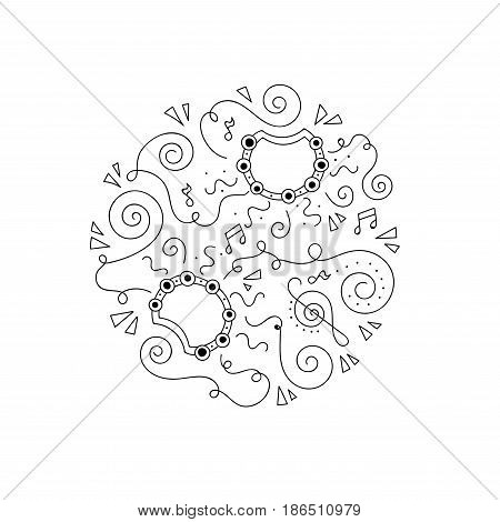 Doodle Tambourine. Jazz festival coloring page. Decorative vector illustration.