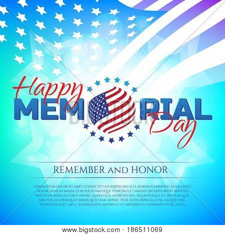 Happy Memorial Day Greeting Card With National Flag Colors And Stars On Colorful Background. Remembe