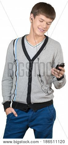 Teen male preppy listening to an MP3 player