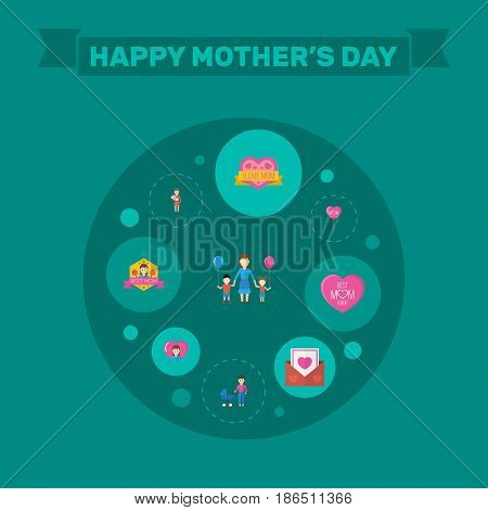 Happy Mothers Day. Flat Design Concept Includes Sticker, Mam And Envelope Symbols. Vector Festive Holiday Illustration.