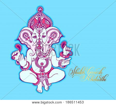 shubh ganesh chaturthi greeting card to indian celebration holiday with ganesha drawing and gold hand lettering inscription, vector illustration