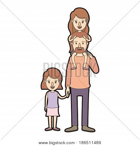 light color caricature thick contour dad with daugther on his back and girl taken hands vector illustration