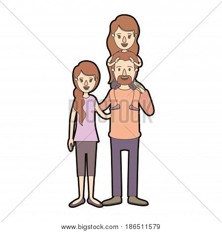 light color caricature thick contour family with mother and father with moustache and girl on his back vector illustration