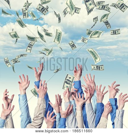 lots of hand try to get money business concept