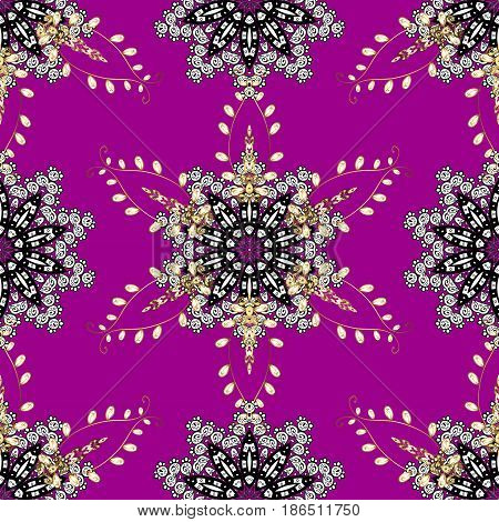 Damask seamless pattern repeating background. Gold magenta floral ornament in baroque style. Gold Sketch on texture background. Golden element on magenta background.