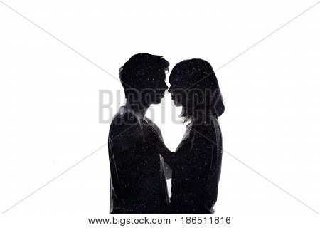 Double exposure of lovely romantic couple. Space love. White background