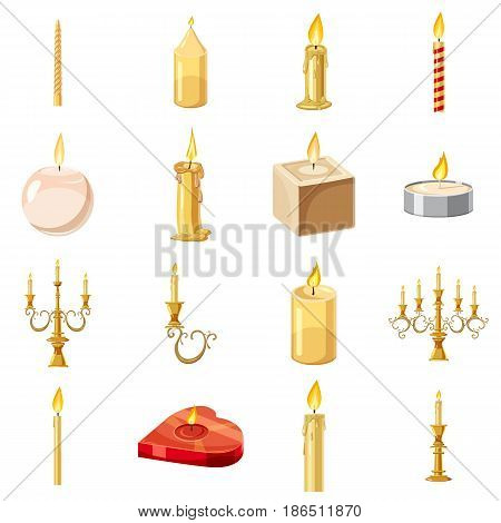Candles forms icons set. Cartoon illustration of 16 candles forms vector icons for web