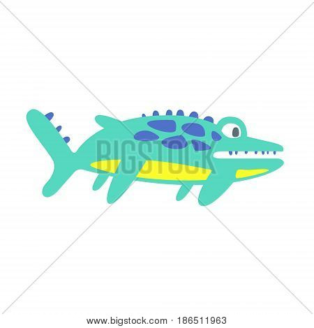 Cute funny ichthyosaur. Prehistoric animal character colorful vector Illustration isolated on a white background