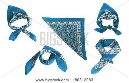 Blue light blue kerchief-bandana with a pattern isolated.