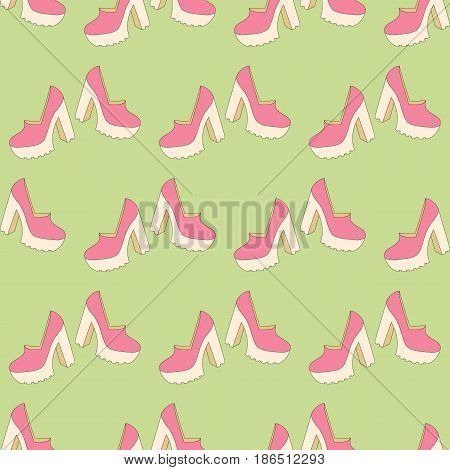 High heels seamless pattern on the green background. Vector illustration