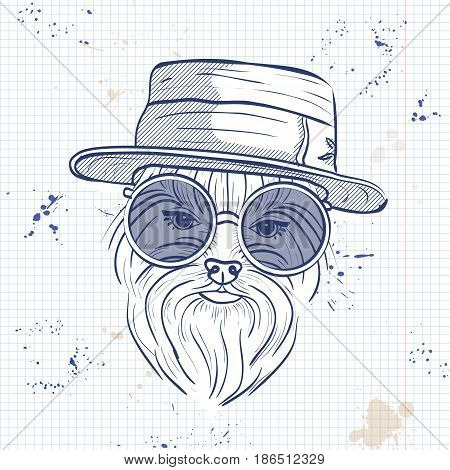 Vector sketch of elegant dog womans face with hat and circle sunglasses on a notebook page