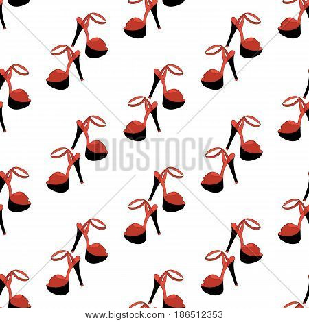 High heels seamless pattern on the white background. Vector illustration