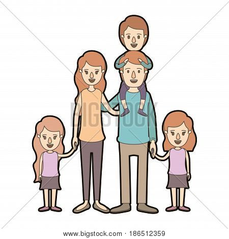 light color caricature thick contour big family parents with boy on his back and daugthers taken hands vector illustration
