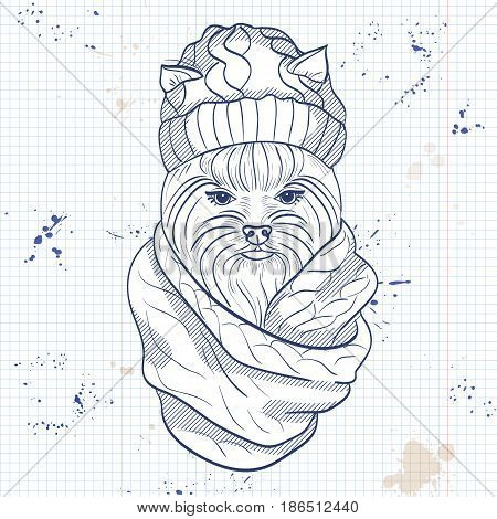 Vector sketch of elegant dog womans face with knitting cap and snood on a notebook page
