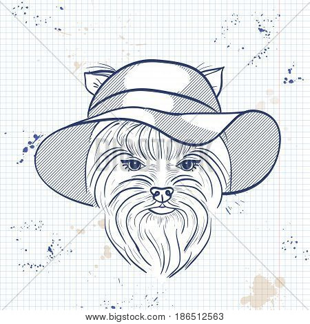 Vector sketch of elegant dog womans face with wide brimmed hat on a notebook page