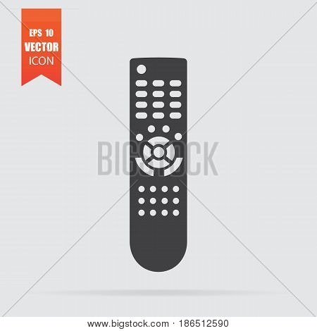 Remote Control Icon In Flat Style Isolated On Grey Background.