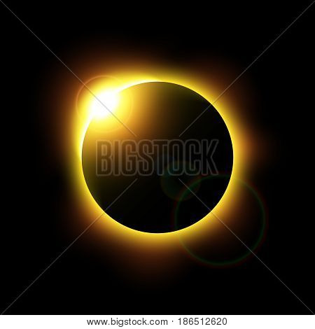 Eclipse of the sun and flare . Vector .