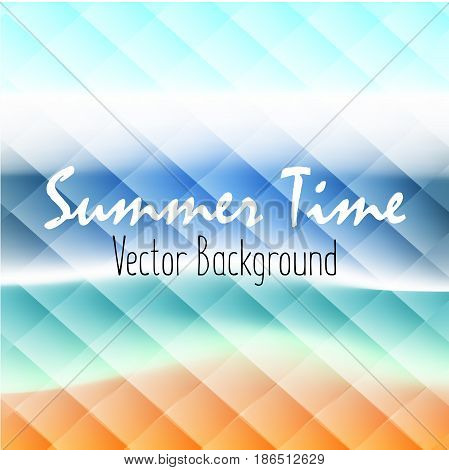 Vector summer background beach and ocean effect of mosaic glass. Vector illustration.