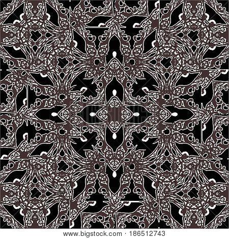 Oriental Dark Ornate Seamless Pattern
