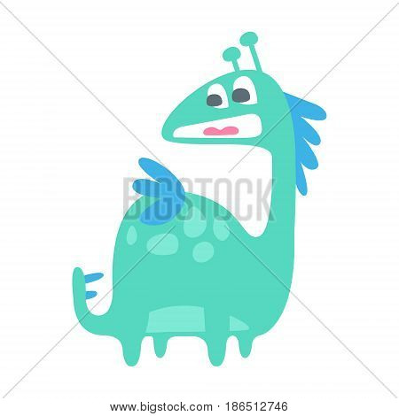 Cute colorful funny dinosaur. Prehistoric animal character vector Illustration isolated on a white background
