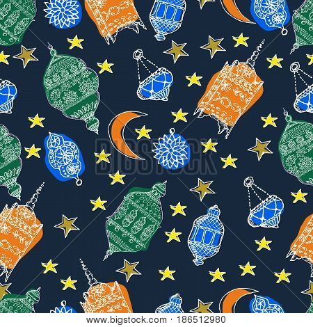 Hand Drawn Vector Ramadan Background. Colorful Seamless Pattern. Islamic Holiday. Lanterns stars crescent arabian style.