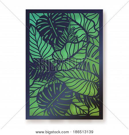 Summer jungle foliage greeting card. Palm leaves laser cut illustration.