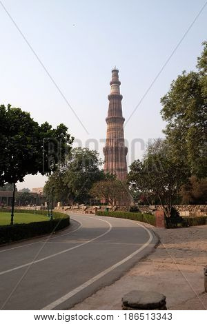 DELHI, INDIA - FEBRUARY 13 : Qutub Minar Tower, Delhi, India on February, 13, 2016.