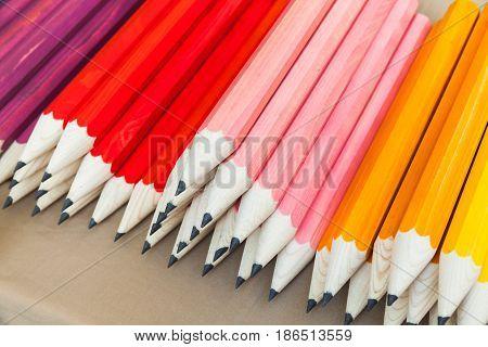Stack Of Colorful Graphite Pencils, Closeup Photo