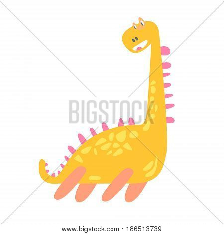 Cute funny yellow dinosaur. Prehistoric animal character colorful vector Illustration isolated on a white background