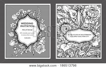 Vintage floral wedding invitation cards with text and blooming natural spring flowers in monochrome style vector illustration