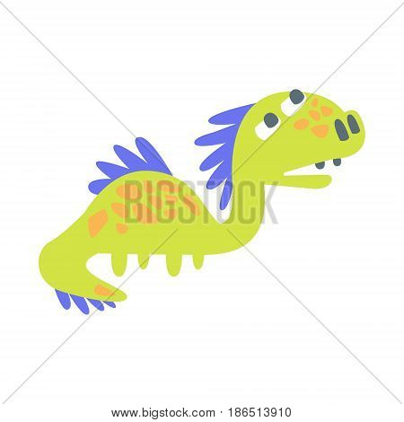 Cute funny green dinosaur. Prehistoric animal character colorful vector Illustration isolated on a white background