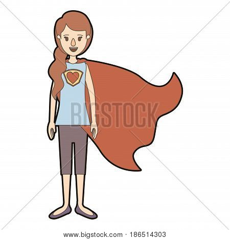 light color caricature thick contour full body super hero woman with ponytail hair and cap vector illustration