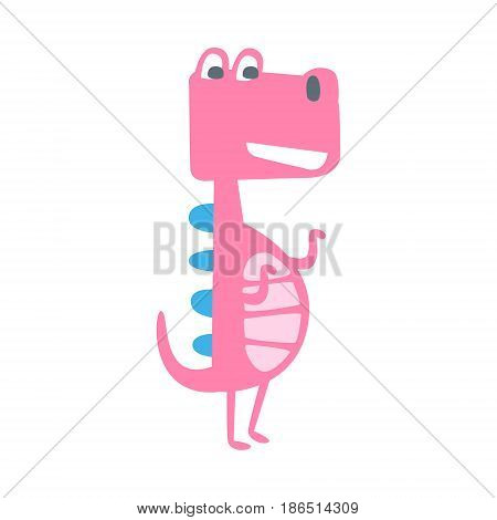 Cute funny pink dinosaur standing. Prehistoric animal character colorful vector Illustration isolated on a white background
