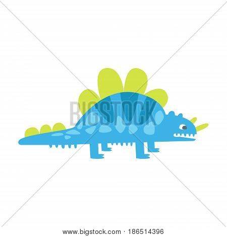 Blue cute styracosaurus. Prehistoric animal character colorful vector Illustration isolated on a white background