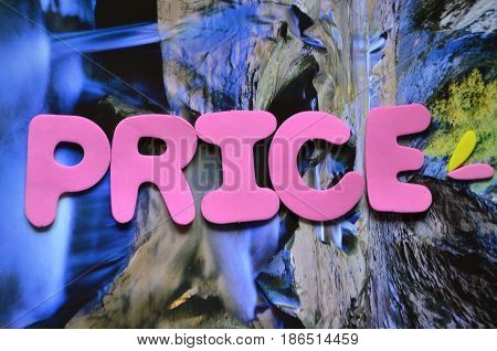 word price on a  abstract colorful background