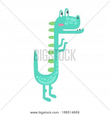 Cute little dino. Prehistoric animal character colorful vector Illustration isolated on a white background
